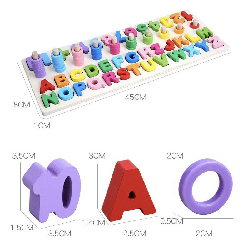 Bảng cọc gỗ chữ cái và số đếm loại to Montessori