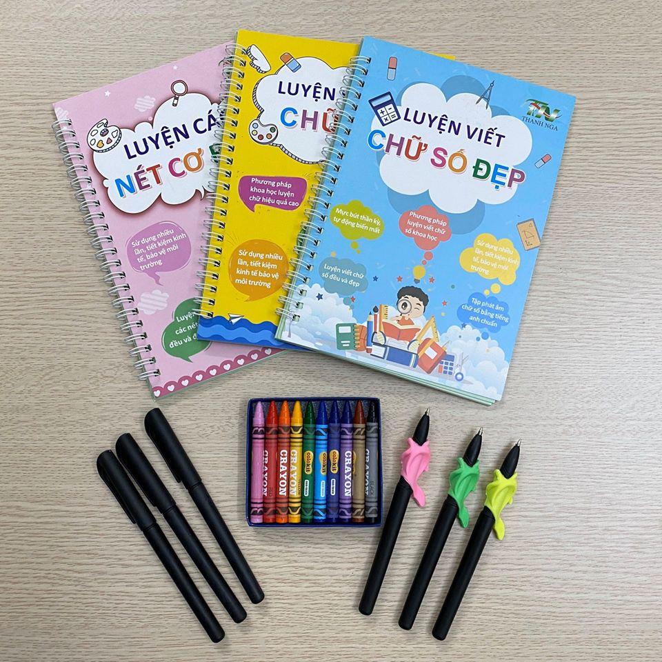 Bộ sách tập tô tự xóa + bút sáp màu Thiên Long